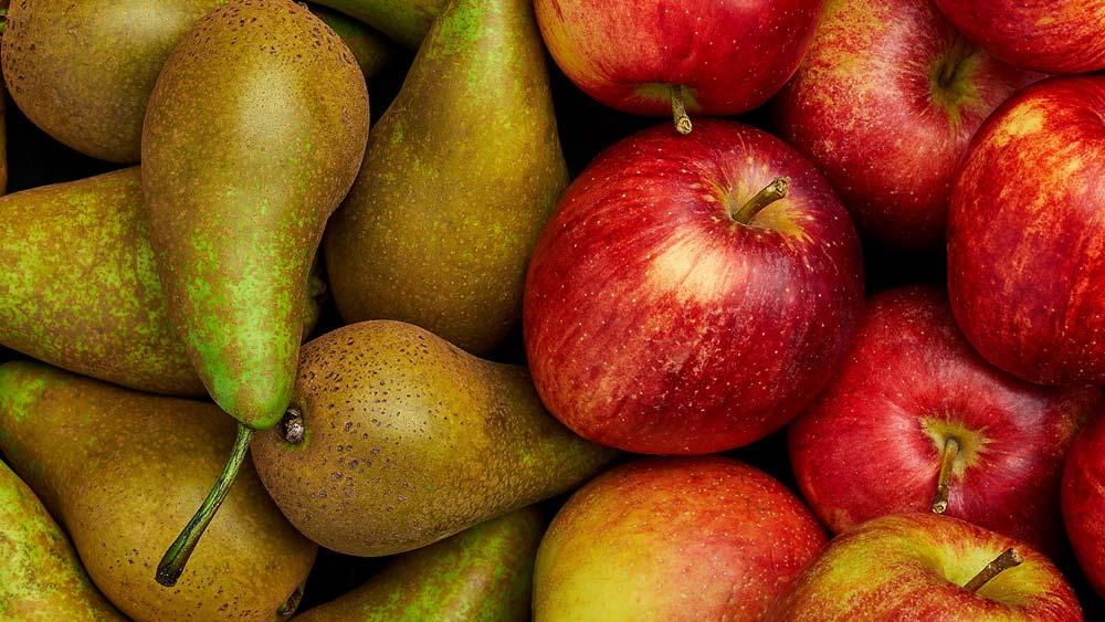 pommes et poires, fruits et légumes d'automne